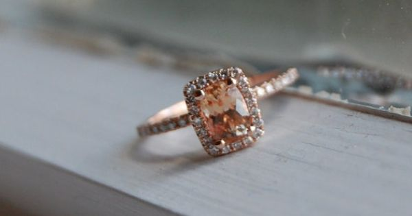 1ct Cushion Peach sapphire in 14k rose gold diamond ring