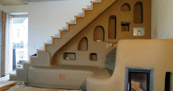 cob house ... love this stairway with seating and alcoves for storage