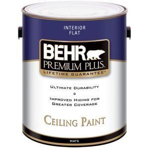 Behr Premium Plus 1 Gal Ultra Pure White Ceiling Flat Interior Paint 55801