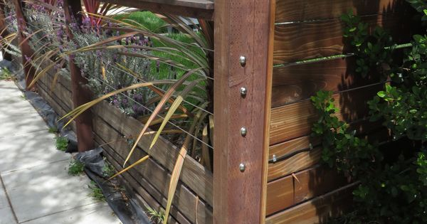 Low Wooden Fence Staxel: Modern Low Fence With Wood At Bottom, Horizontal Wires And