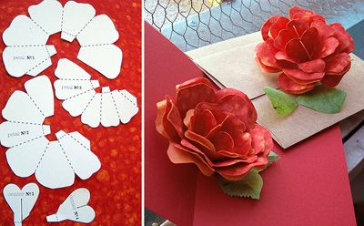Paper Rose Template Pop Up Flower Cards Paper Roses Pop Up Card Templates