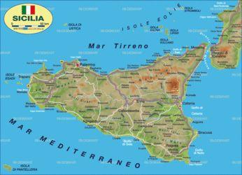 Sizilien Karte Landkarte Stadte Lander Flusse Berge Seen