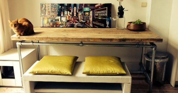 Bureau tafel dikke steigerplanken zwevend steigerbuis onderstel om aan te werken pinterest - Meubelen om te schilderen zichzelf ...