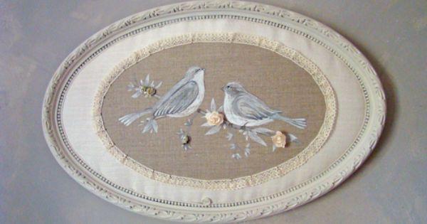 Peinture sur lin naturel entour e de chanvre ancien et de for Peinture lin naturel