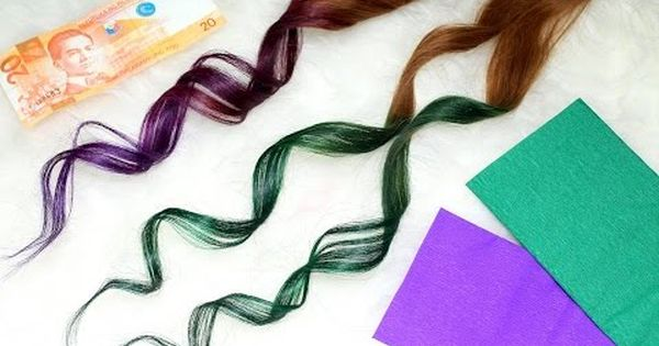 How To Color Hair Using Crepe Paper Cheap And Easy Hair Hack Dyed Hair Diy Ombre Hair Hair Dye For Kids