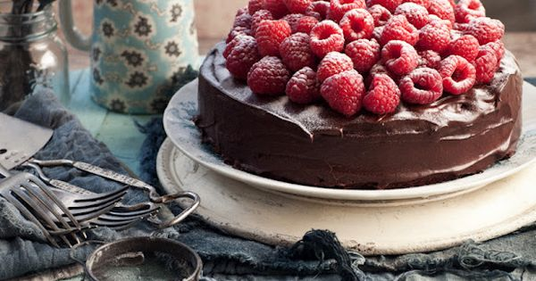 Chocolate fudge cake with raspberries and amaretto cream...who will make us this