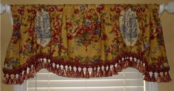 Custom Scalloped Valance Rooster French Country Waverly