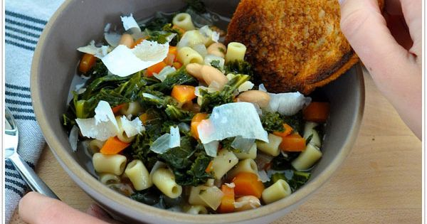 Tuscan white bean kale soup, made on the stove and transferred to
