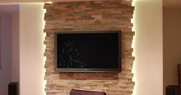 Wohnzimmer steinwand tv 640 425 muur ideen for Steinwand tv