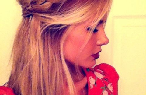 braided half up (one big braid and one half one). Repin By:Pinterest++