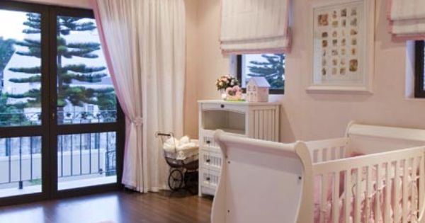 Girls baby room wood floors pink and white accesories nursery babygirl pink curtains - Images of kiddies decorated room ...
