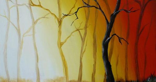 on canvas acrylics misty forest tree landscape acrylic painting. Black Bedroom Furniture Sets. Home Design Ideas