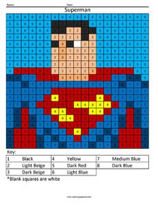 Superhero Color By Number Coloring Squared Color Graphing Coding For Kids Math Sheets
