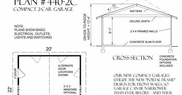 Two car garage plan 440 2c 20 39 x 22 39 by behm design for 20 x 24 garage plans