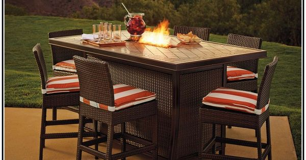 Bar Height Patio Dining Set With Fire Pit For The Home