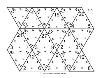 Multiplication / Division Flash Cards Triangles - 18 pages