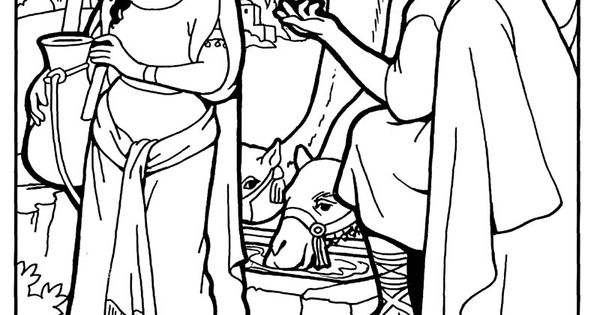 isaac and rebekah coloring pages - rebekah and isaac rebekah at the well bible coloring page
