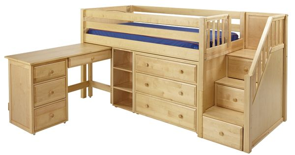 Low loft bed with stairs steps for Loft muebles