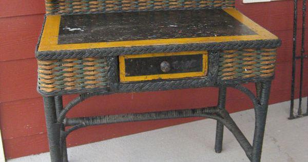 Antique Karpen Wicker Child S Writing Desk Excellent