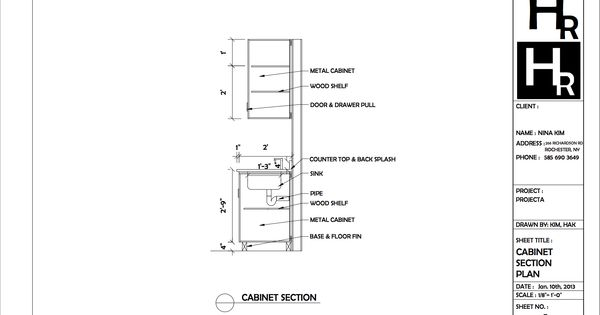 Cabinet Section Drawing Portfolio Autocad Pinterest