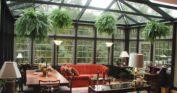 Retro Sunroom Design with Ceiling Glass and Indoor Hanging Plants Ideas -