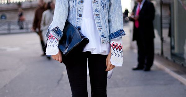 Acid Wash Jean Jacket Street Style Spring 2013 - Paris Fashion Week