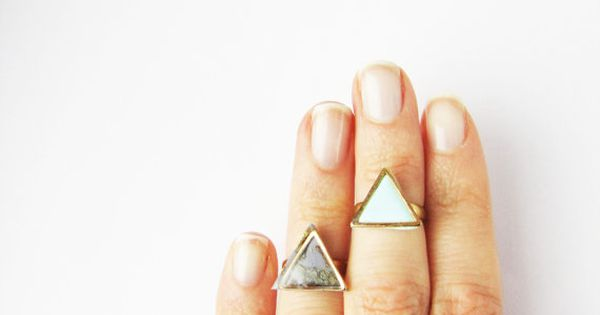 Simple modern geometric knuckle triangle ring .Choose Your Color Geo ring. Simple