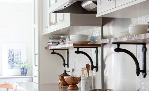 Perfect combo traditional upper cabinets with open for Traditional kitchen shelves