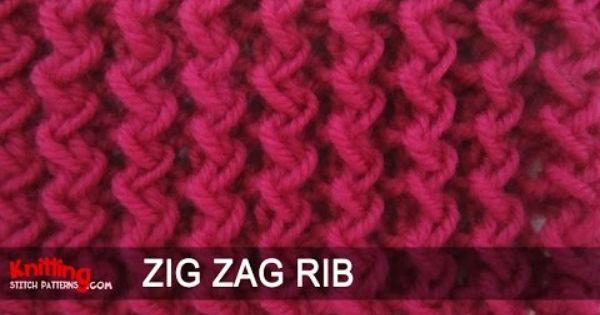 Knit Zig Zag Rib Stitch : Zig zag rib stitch youtube tricot vÍdeos pinterest