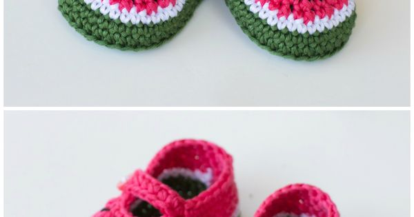 Free Crochet Watermelon Dress Pattern : Watermelon Baby Booties - Crochet Pattern Baby booties ...