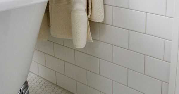 White Subway Tile With Honeycomb Floor Tile Want Taupe
