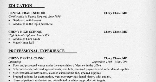Entry Level Dental Assistant Resume Sample #dentist #health #student (resumecompanion.com