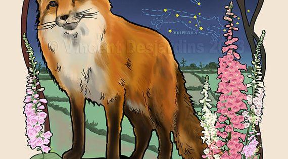 Art Nouveau Fox | Fox Constellation Print of Original Art Nouveau Style