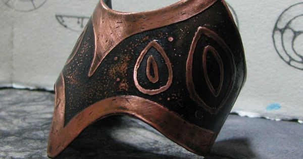 Etched Copper Cuff Four Leaf Design Handmade Jewelry