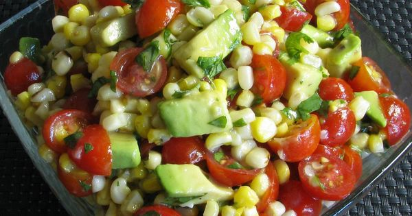 Avocado Tomato Grilled Corn Salad Honey Lime Dressing (we have done something