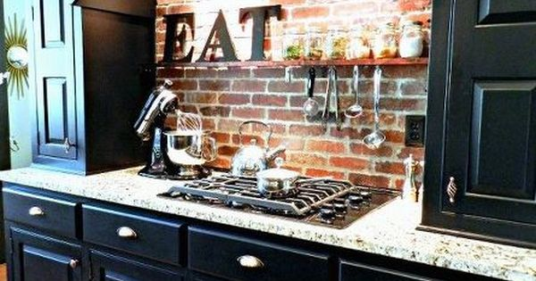 Diy brick backsplash shelf ideas stove and cabinets for Crazy kitchen ideas