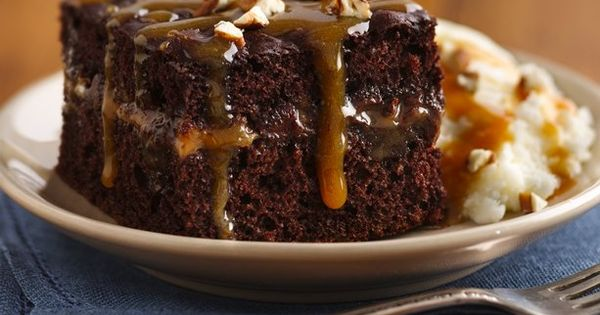 Chocolate turtle cake. From boxed cake mix. This looks good for a