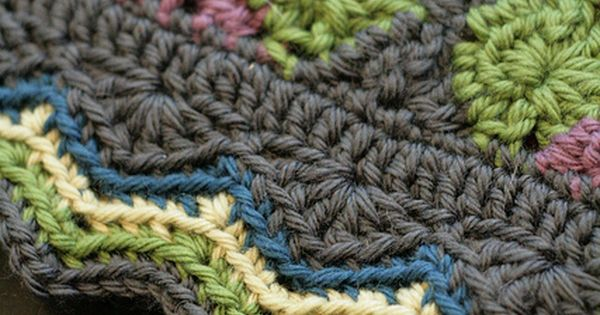 crocheted border - it's on a granny square adaptation called Greenway -