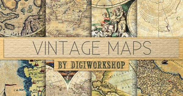 "Vintage maps digital paper - ""Vintage Maps"" with vintage and antique maps"