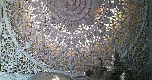 SIMPLY PURE Houten wanddecoratie 180x180 cm wit op zu0026#39;n marrokkaans ...