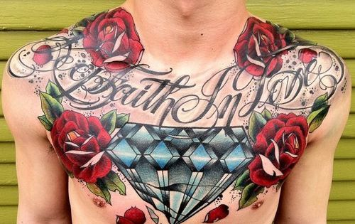 rose tattoo designs | tattoos chest tattoo tattooed men rose tattoo letters