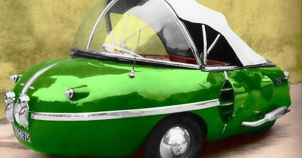 Bouffort Peardrop 1952 - In 1952 the French car pioneer Victor Bouffort designed a revolutionary, egg-shaped, plastic microcar. He made a tour through Germany to sell his design. There was a lot of interest, but nobody took out a license. He must have inspired some, because it didn't take very long before Brütsch and Tourette came up with very similar vehicles, which they claimed to be their own idea...