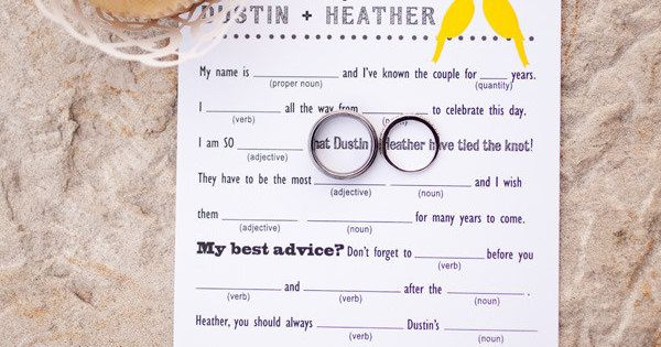 Very Cute! Fill-In-The-Blank Wedding Advice Made by Bride @ 2 Little Yellow