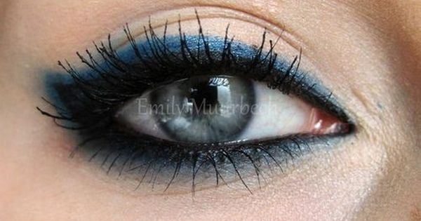 Double row eye liner. Cobalt blue smudged out all the way around