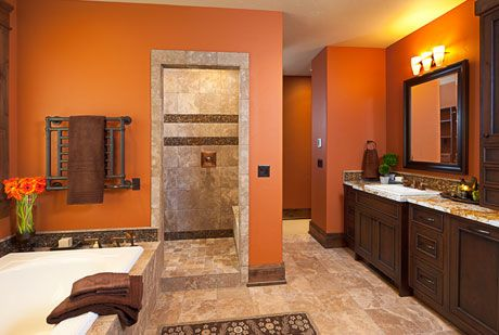 Pin By Carmen Bond Broadway On For The Home Brown Bathroom Decor Brown Bathroom Orange Bathrooms
