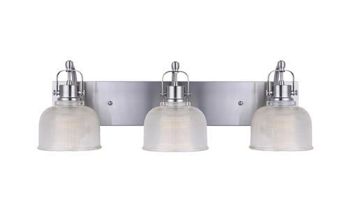 Patriot Lighting Dynasty 3 Light Brushed Nickel Vanity Light At Menards Spa Bathroom Design Vanity Lighting Brick Wall Paneling Bathroom light fixtures menards