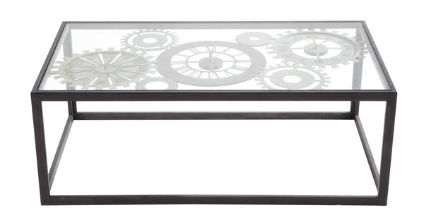 Metal And Tempered Glass Coffee Table With 3 Clocks W 110cm Clocks Glass Coffee Table Coffee Table Glass Table