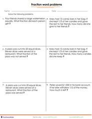 Worksheets Fraction Word Problems Word Problems Simple Word