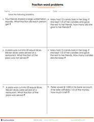 Fraction word problems 4th grade Wonderful