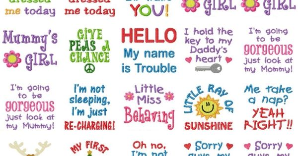 Gg designs embroidery baby sayings set powered by